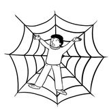 Trapped in spider web Royalty Free Stock Photos