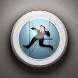 Trapped in Time. Man wearing a suit trapped inside a clock stock illustration
