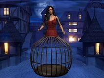Trapped. A woman in a medieval town trapped in a cage stock illustration