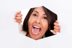 Trapped woman screaming Royalty Free Stock Photo