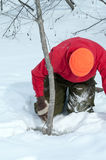 Trapper clearing ice and snow from water trap Stock Photo
