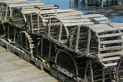 Trappes de langoustine sur des quais Image stock