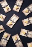 Trappes de souris avec du fromage sur un fond foncé Photos stock