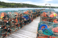 Trappes et bouées de langoustine Image libre de droits