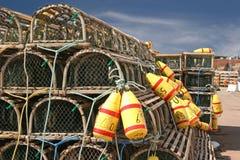 Trappes et bouées de langoustine Photographie stock libre de droits