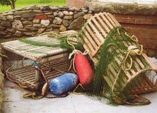Trappes et bouys de langoustine photographie stock libre de droits