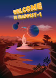 Trappist-1 system. Exoplanets. Space landscape, the colonization of the planets. Vector illustration Royalty Free Stock Image