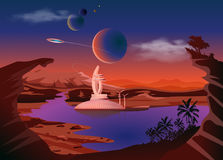 Trappist-1 system. Exoplanets. Space landscape, the colonization of the planets. Vector illustration Stock Image