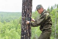 Trappola della macchina fotografica sull'albero Fotografie Stock Libere da Diritti