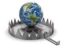 Trappola e globo (percorso di ritaglio incluso) Fotografie Stock Libere da Diritti