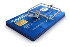 Trappola per topi con le carte di credito (percorso di ritaglio incluso) Fotografia Stock
