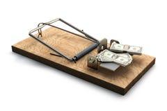 Trappola per topi con soldi su bianco Fotografie Stock