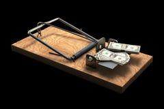 Trappola per topi con soldi sul nero Fotografia Stock Libera da Diritti