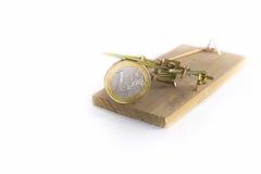 Trappola per topi con un euro Fotografia Stock Libera da Diritti