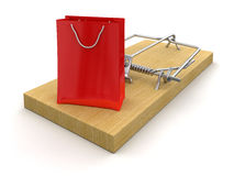 Trappola per topi e sacchetto della spesa (percorso di ritaglio incluso) Fotografie Stock Libere da Diritti