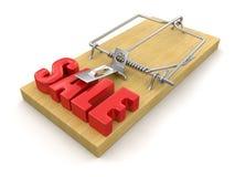 Trappola per topi e vendita (percorso di ritaglio incluso) Fotografie Stock Libere da Diritti