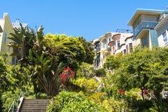 Trappor på den San Francisco kullen, Kalifornien Arkivfoto
