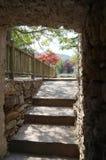 Trappuppgång i en härlig trädgård Royaltyfri Fotografi