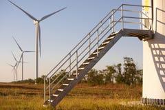 Trappuppgång i vindturbinen Arkivfoto