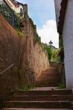 Trappuppgång på den åtsittande gatan i Baden Baden Germany Royaltyfria Foton