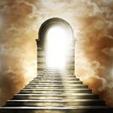 Trappuppgång som för till himmel eller helvete. vektor illustrationer