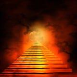 Trappuppgång som för till himmel eller helvete vektor illustrationer