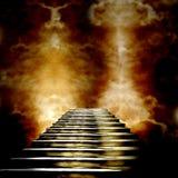 Trappuppgång som för till himmel eller helvete royaltyfri illustrationer