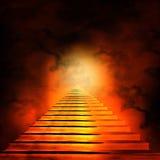 Trappuppgång som leder till himmel eller helvete stock illustrationer