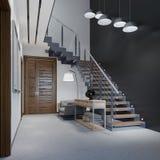 Trappuppgång till det andra golvet i en modern lägenhet med metallräcke och trämoment med stora hängelampor som är svartvita royaltyfri illustrationer