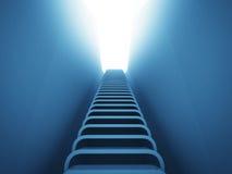 Trappuppgångstege upp perspektiv i blått ljus Arkivfoto