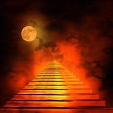 Trappuppgång som för till himmel eller helvete Arkivbilder