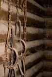 Traps. Retro - Rusty Traps on chain stock photo