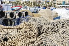 Traps for fish octopus and nets in the pier of Santa Pola. Spain Stock Photography