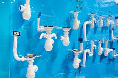 Traps for home plumbing. In shop Stock Images