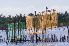Traps for shrimp fishing. Pangalanes channel, Madagascar Royalty Free Stock Photography