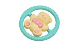 Traqueteo del juguete de los niños. Oso amarillo. foto de archivo