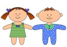 trasa för pojkedockaflicka Vektor Illustrationer