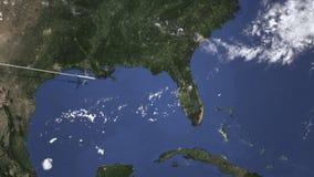 Trasa handlowy samolot lata Orlando, Stany Zjednoczone na mapie Wstępu 3D animacja ilustracja wektor