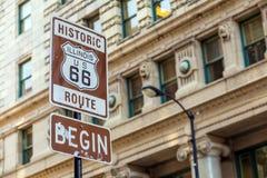 Trasa 66 podpisuje wewnątrz Chicago fotografia royalty free