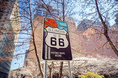 Trasa 66 podpisuje wewnątrz Chicago Obrazy Royalty Free