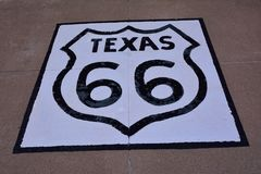 Trasa 66 podpisuje wewnątrz Teksas Fotografia Royalty Free