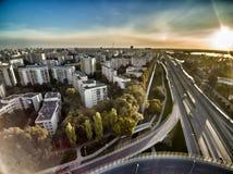 Trasa Siekierkowska和WaÅ 'Miedzeszynski交叉路在华沙在波兰 免版税图库摄影