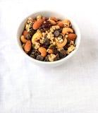 Trascini la miscela dei frutti e di pepita di cioccolato asciutti Fotografia Stock