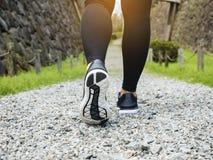 Trascini le gambe di camminata della donna con l'avventura all'aperto del parco della scarpa di sport fotografia stock