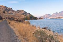 Trascini lungo il lago con le erbe di autunno e foglie e montagne nella distanza con la luce del tramonto immagine stock