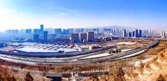 Trascurando la perla del plateau - Qinghai, Xining Fotografie Stock Libere da Diritti
