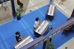 Trascuri piaoliuping qiweiguan (museo di odore della bottiglia di deriva) nel centro commerciale di wanda, la città amoy, porcell Immagine Stock