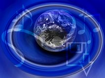 Trasferimenti dal sistema centrale verso i satelliti di musica del Internet - note di musica Immagini Stock Libere da Diritti