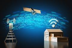 Trasferimento di dati ad alta velocità dalla casa Concetto veloce del collegamento a Internet rappresentazione 3d illustrazione vettoriale