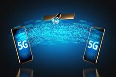 Trasferimento di dati ad alta velocità fra il diagramma degli smartphones sopra il concetto della rete 5G rappresentazione 3d illustrazione di stock